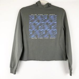 The Rolling Stones Gray Cropped Graphic Hoodie XS